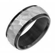 Triton Black Tungsten /Grey Center Engraved Band - Sz 10